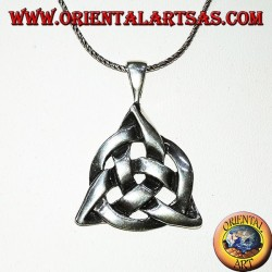 Серебряная подвеска Трикетра с космическим кругом, тироновым узлом