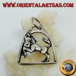 Silver pendant horse rampant under the arch