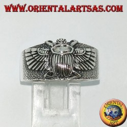 Silver ring with Egyptian Khepri beetle, symbol of the resurrection
