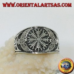 Silver ring with aegishjalmur and Celtic weave on the sides