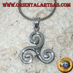Triskele silver pendant, triskell, triquetra, triskelion with tyrone knot