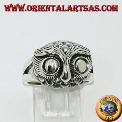 Anello in argento con testa di gufo ad occhi grandi