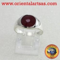 anello  in argento con corniola tonda