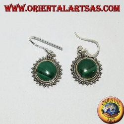 Silver earrings with round Malachite