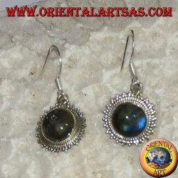 Silver earrings with round Labradorite surrounded by dots