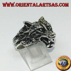 Anello in argento, testa di lupo che ringhia