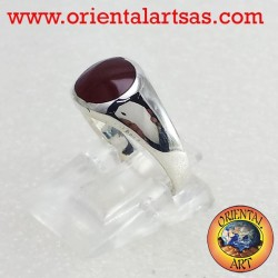 silver ring with carnelian round