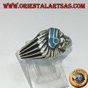 Silver ring with Indian head with black enamel native to America