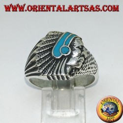 Silver ring with Indian (Native of America) with turquoise