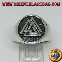 Bague en argent avec le sceau du nœud valknut d'Odin