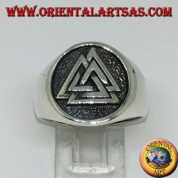 Silver ring with the seal of valknut knot of Odin
