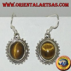 Silver earrings with oval tiger's eye surrounded by dots
