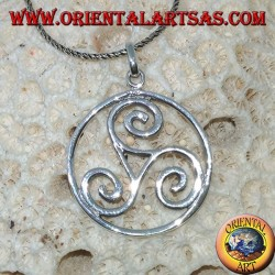 Silver pendant, Triskele triskell in the cosmic circle (large)