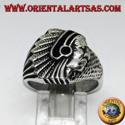 Silberring mit Indianer (Ureinwohner Amerikas) mit Onyx