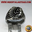 Silver ring with Indian (Native of America) with onyx