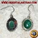 Silver earrings with oval malachite surrounded by dots