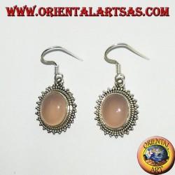 Boucles d'oreilles en argent avec quartz rose ovale entouré de points