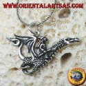 Silver pendant, the witch with the dragon