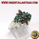 Silver ring with 7 natural emeralds and marcasites
