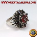 Silver ring with 8 shuttle garnets + 7 natural and marcassite rounds