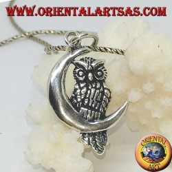 Silver pendant owl on the left half moon