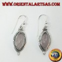 Silver earrings with a braid around a shuttle rose quartz