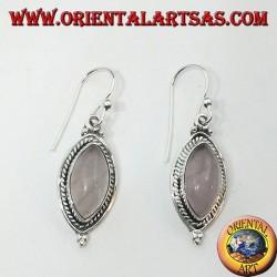 Orecchini in argento con treccia intorno ad un quarzo rosa a navetta