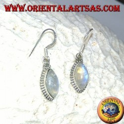 Silver earrings with rainbow shuttle labradorite