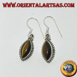 Silver earrings with tiger's eye in shuttle