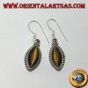 Silver earrings with tiger's eye in shuttle