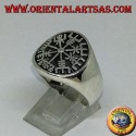 Silver ring Vegvísir seal runic compass or runic compass