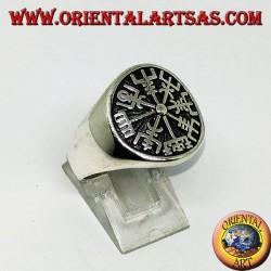 Anello in argento sigillo Vegvísir compasso runico o bussola runica