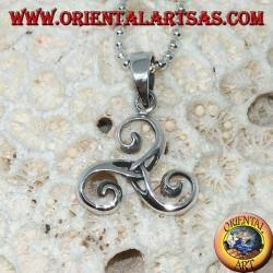 Triskele pendentif en argent, triskell, triskelion avec noeud en tyrone au centre
