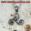 Triskele silver pendant, triskell, triskelion with tyrone knot in the center