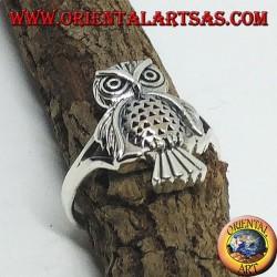 Серебряное кольцо с совой (целое)