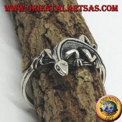 Bague en argent, forme de gekko gecko (petit)