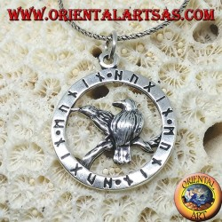 Silver pendant for the ravens of Odin Huginn and Muninn surrounded by runes