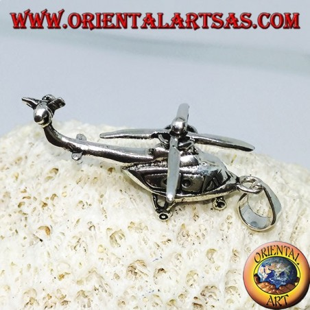 Silver pendant of a mobile helicopter