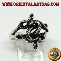Silver ring with two twisted cobras (medium)