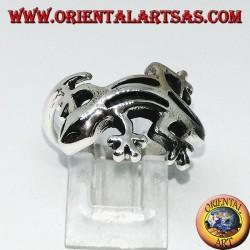 Серебряное кольцо геккона гекко, (среднее)