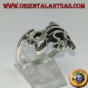 Silver gecko gekko ring, (medium)