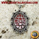 Silver pendant with cameo on mother of pearl surrounded by pearls and garnets