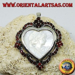 Silver heart pendant brooch with mother of pearl cameo surrounded by garnets