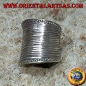 Concave wide band silver ring with handmade striped engravings