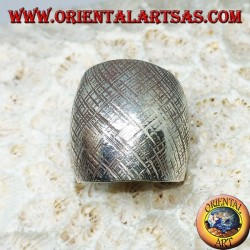 Silver ring with curved band with handmade crossed stripes