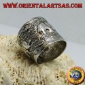 Silver band ring with elephants hand-chiseled by the Karen