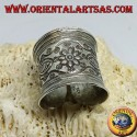 Silver band ring with flower and hand chiseled fish by the Karen