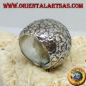 Convex ring in silver hammered with splinters handmade