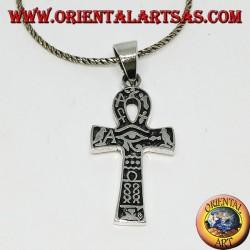 Ciondolo in argento croce ankh occhio di horus e con geroglifici (medio)