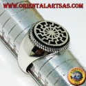 """Silver ring with black sun (""""the wheel of the sun"""")"""